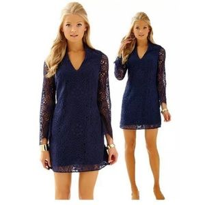 Lilly Pulitzer Felicity Dress Navy Sunburt Lace